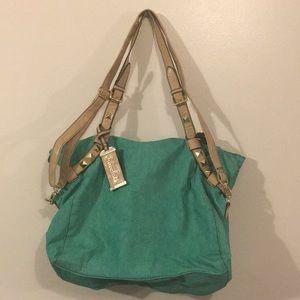 🍫Chocolate Zipper tote purse Green & pink. NWOT🍫